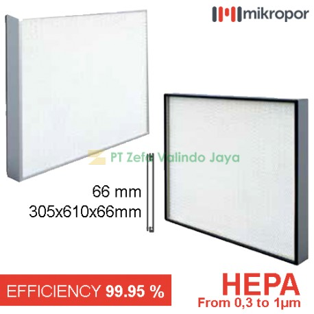 99.995 % HEPA Filter Aluminium  305 x 610 x 66 mm