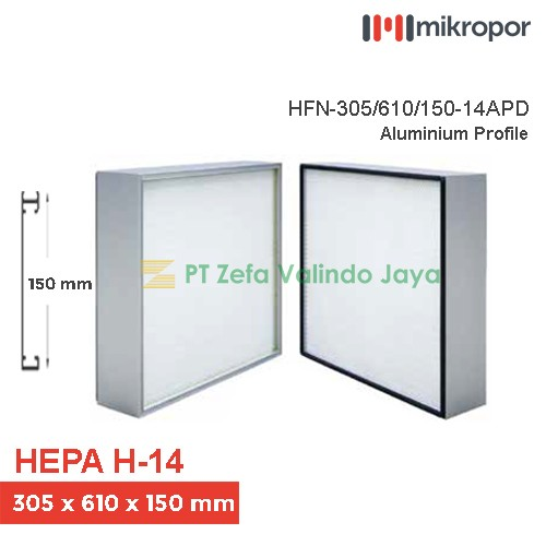 Mikropor HEPA Filter H14 HFN Series Aluminium Profile HFN-305/610/150-14APD