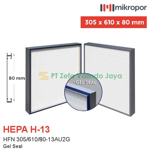 Mikropor HEPA Filter H13 HFN Series Aluminium Profile HFN 305/610/80-13AU2G
