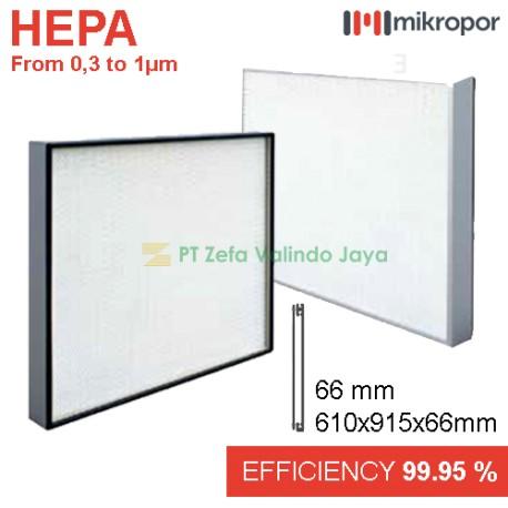 HEPA FILTER PANEL ALUMINIUM PROFILE 66 mm | 610x 915 x 66 mm